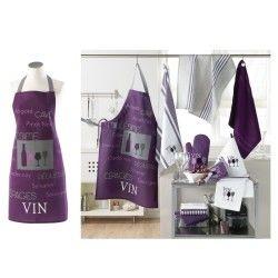 Tablier de cuisine avec poche cave a vin violet