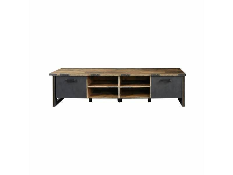 Prime - meuble salon/séjour - meuble tv en mélaminé gris/bois foncé xxl l-h-p : 207/52/42 cm