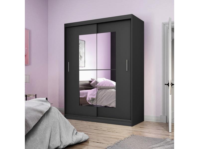 Armoire avec miroir - vaniva - 150 cm - noir - portes coulissantes