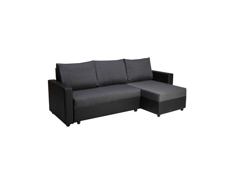 Canapé d'angle antala convertible et réversible / noir et gris
