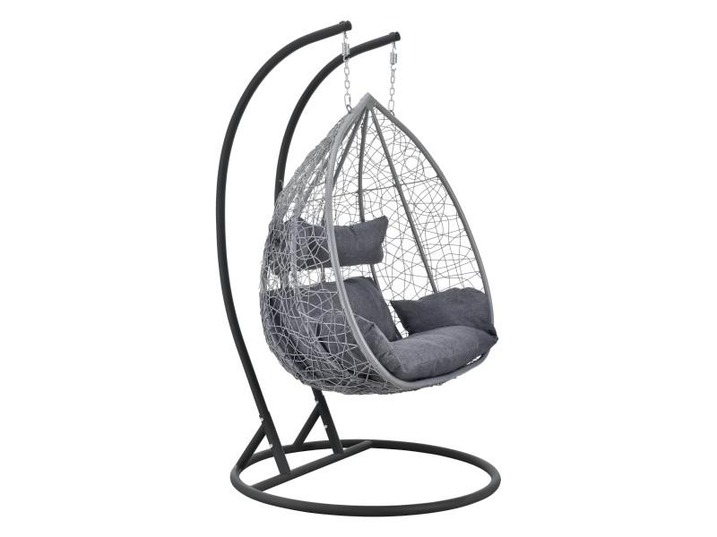 Siège suspendu 2 places panier cadre coussins fauteuil zen pour intérieur extérieur support solide acier housse amovible polyester capacité 250 kg polyrotin hauteur 195 cm gris clair et foncé [en.casa]