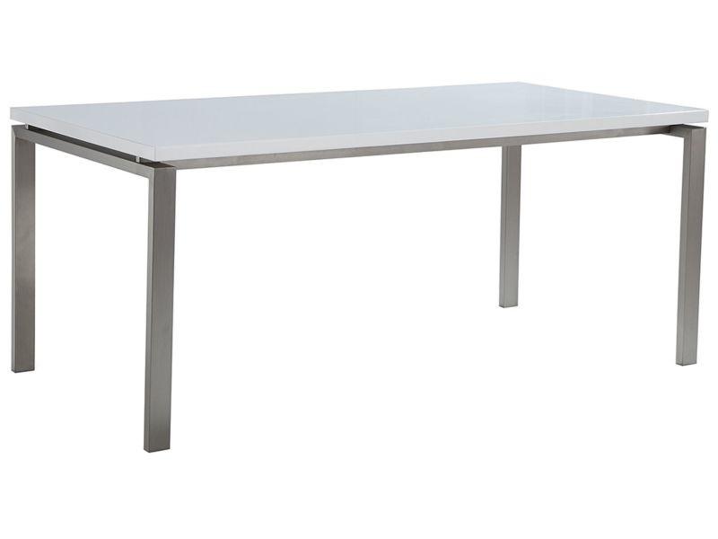 Table de salle à manger en acier inox et plateau blanc - 220 x 90 cm - arctic ii 5141