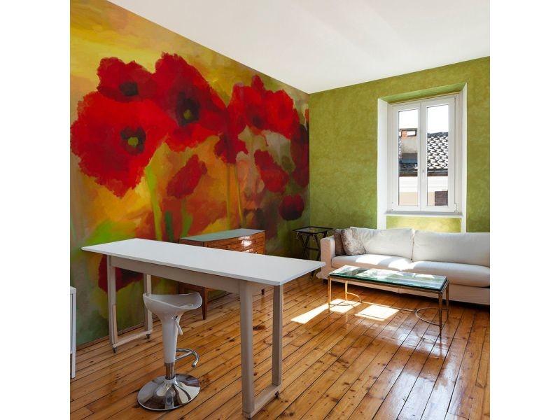 Papier peint poppies in warm tone A1-LFTNT0533