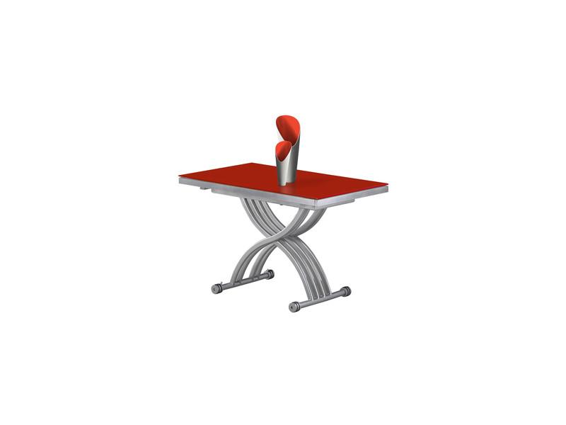 Table basse relevable zen verre rouge