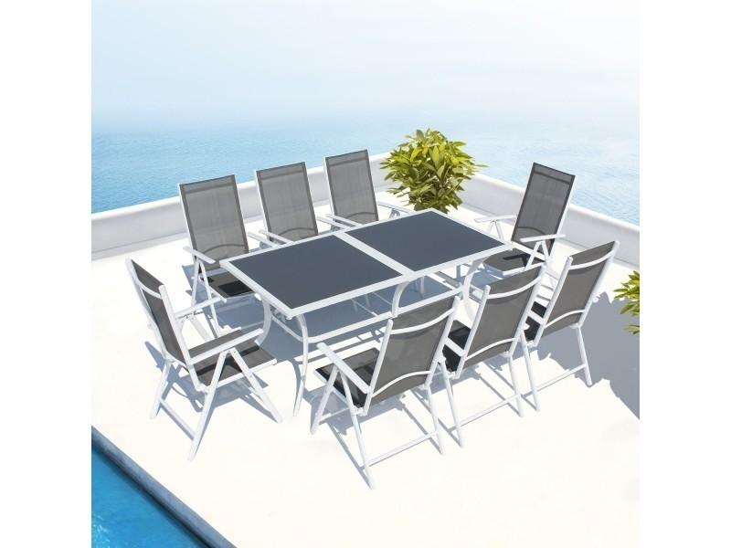 Le mirella : salon de jardin aluminium 8 places en textilène ...
