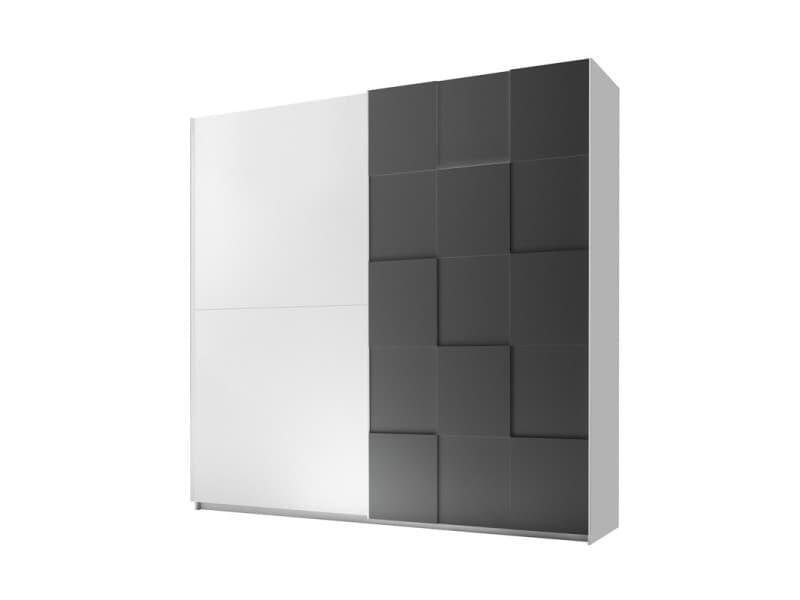 Armoire 2 portes coulissantes 220 cm blanc/gris mat - ticato - l 220 x l 64 x h 210 - neuf