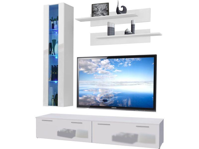 ensemble meuble tv mural 200 cm avec 1 vitrine clair e avec led 2 tag res et 2 bancs tv. Black Bedroom Furniture Sets. Home Design Ideas