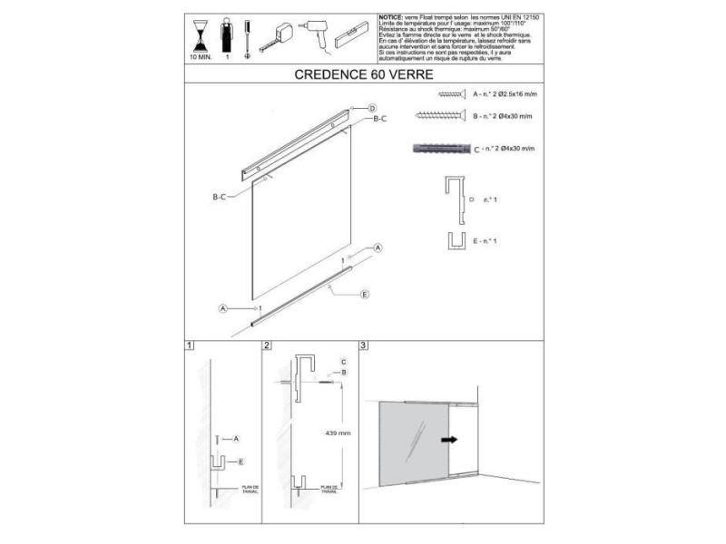 Credence - accessoire credence - fond de hotte crédence en verre de 5mm d'épaisseur style inox - 60x45cm