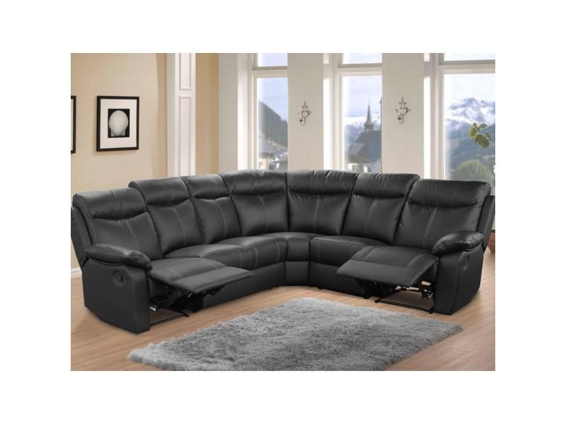 Canapé d'angle relax 7 places cuir noir - vyctoire - l 275 x l 225 x h 102 - neuf