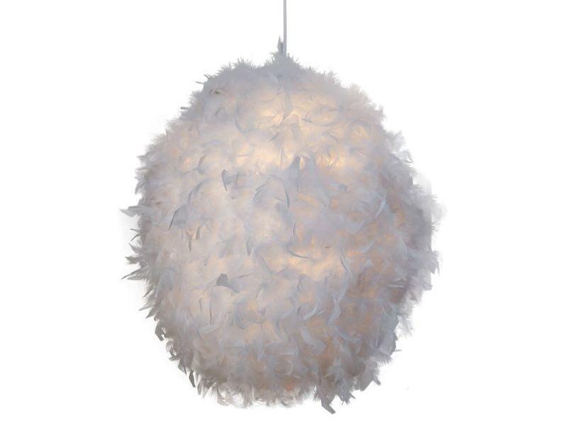 Suspension design boule en plume coloris blanc - Vente de ...