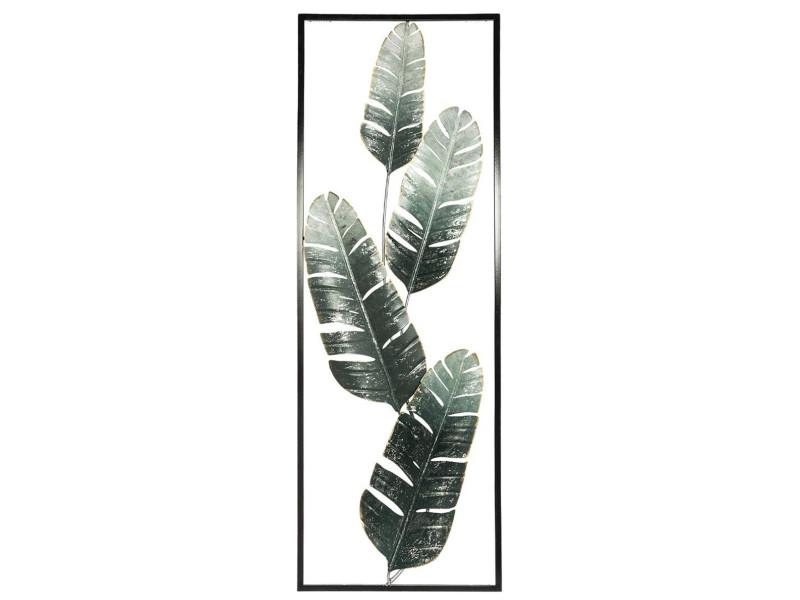 Décoration murale bananier en métal coloris vert - l.31 x l.4 x h.89,5 cm - pegane-