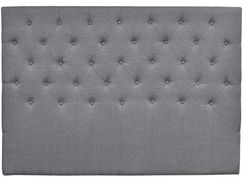 tete de lit capitonnee 140 cm deco en tissu gris vente de habitat et jardin conforama. Black Bedroom Furniture Sets. Home Design Ideas