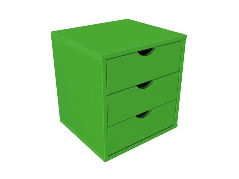 Bloc 3 tiroirs bois massif vert BLOC3T-VE