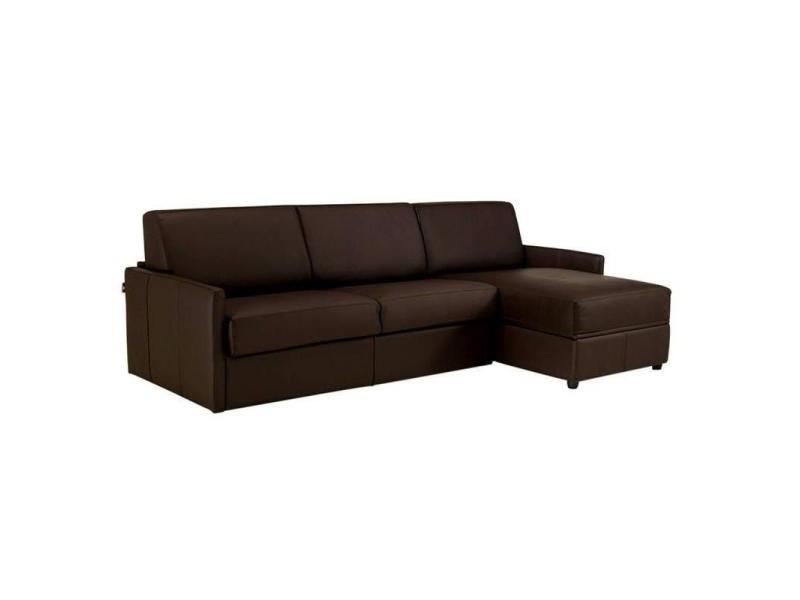 Canapé d'angle sun convertible rapido 140cm cuir vachette recyclé marron matelas épaisseur 16cm 20100828968