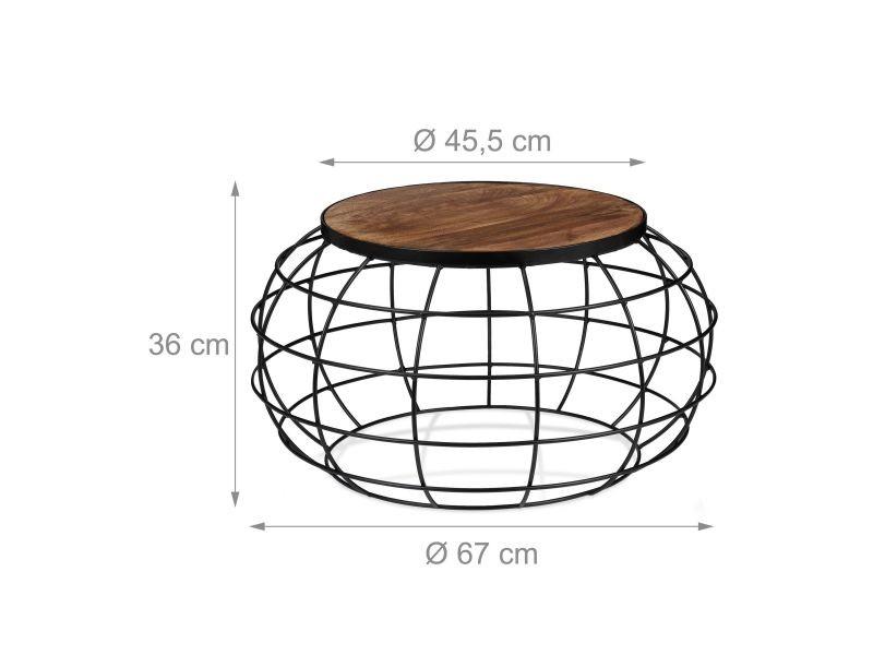 Table basse ronde diamètre 67 cm en bois de manguier et fer marron et noir helloshop26 13_0002603