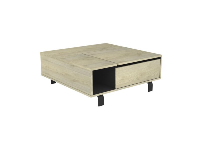 Table basse carrée relevable chêne clair/noir mat - forest - l 90 x l 90 x h 37 - neuf