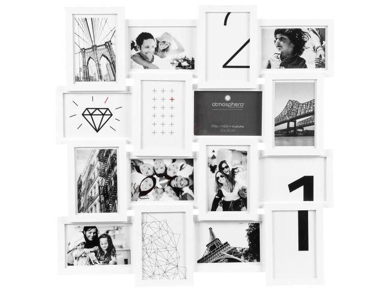 Pêle-mêle 16 photos - l. 59 cm - blanc