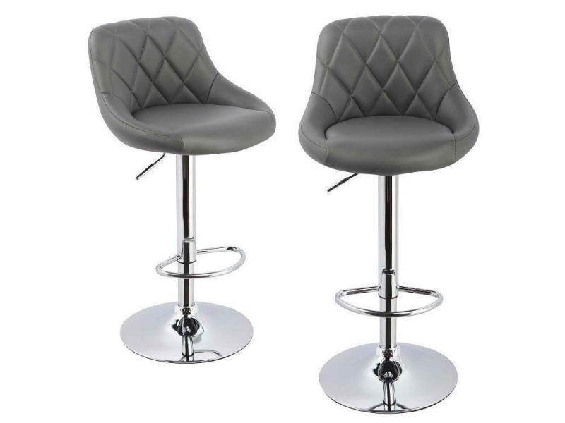 lot de 2 tabourets de bar confortable simili cuir gris. Black Bedroom Furniture Sets. Home Design Ideas