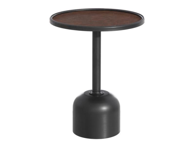Sellette ronde métal noir/simili cuir marron - bomia - l 40 x l 40 x h 52 - neuf