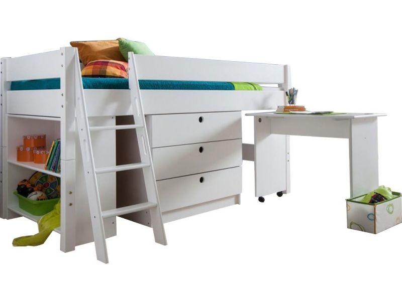 lit combin pour enfant 90x200 en bois massif coloris blanc vente de comforium conforama. Black Bedroom Furniture Sets. Home Design Ideas