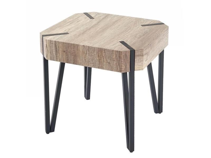 Table basse de salon kos t574, certifié fsc, 52x50x50cm ~ chêne sauvage, pieds foncés en métal