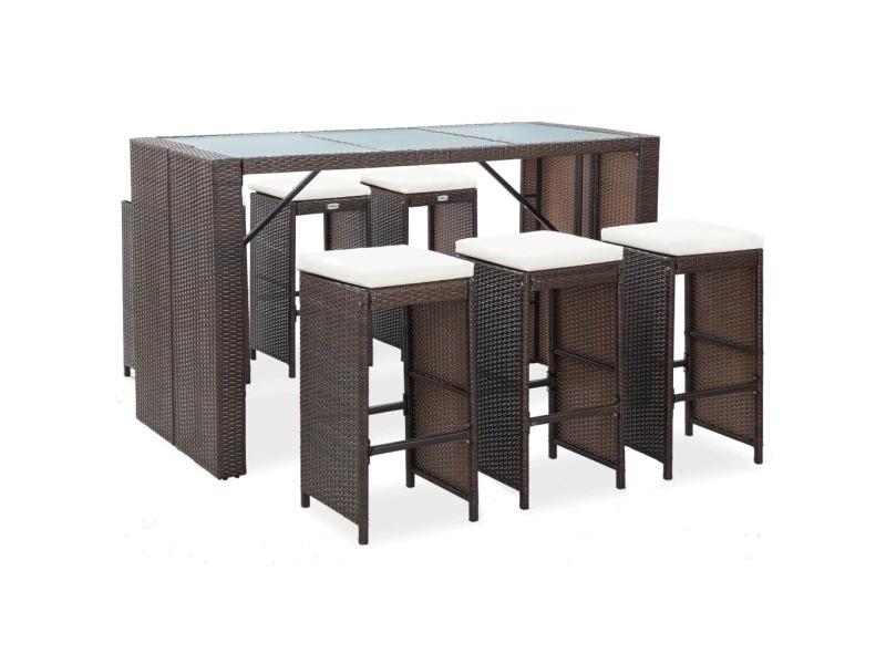 Chic mobilier de jardin gamme belgrade meuble de bar de jardin 7 pcs et coussins résine tressée marron