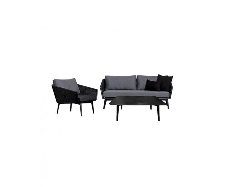 Salon de jardin 1 canapé 3 places 1 fauteuil 1 table basse - paradise