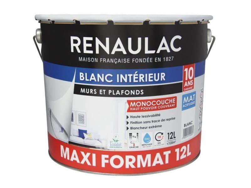 Peinture - vernis - traitement (lasure - effets decoratifs) peinture murale monocouche 12 l mat blanc extreme - lessivable -
