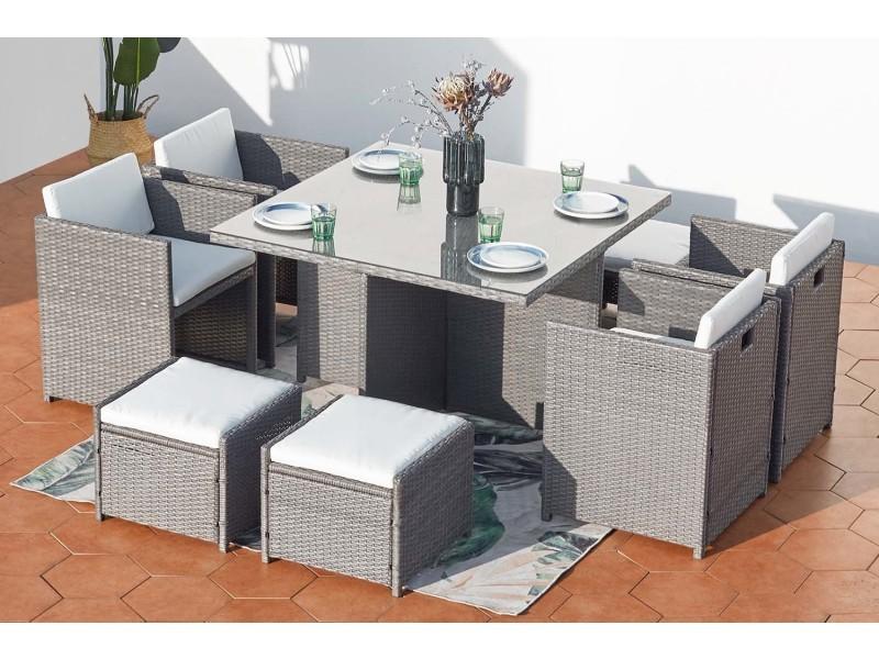 Miami 8 gris/blanc : salon encastrable 8 personnes en résine ...