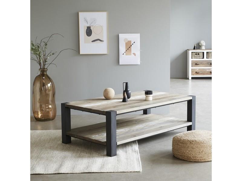 Table basse en bois de pin recyclé et métal double plateau