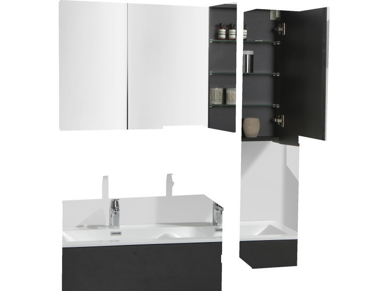 armoire de toilette bloc miroir siena largeur 120 cm ch ne noir vente de salle de bain pr tes. Black Bedroom Furniture Sets. Home Design Ideas