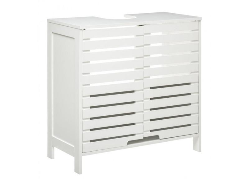 Meuble de salle de bain coloris blanc - l. 60 x p. 28 x h. 58.5 cm -pegane- PEGANE