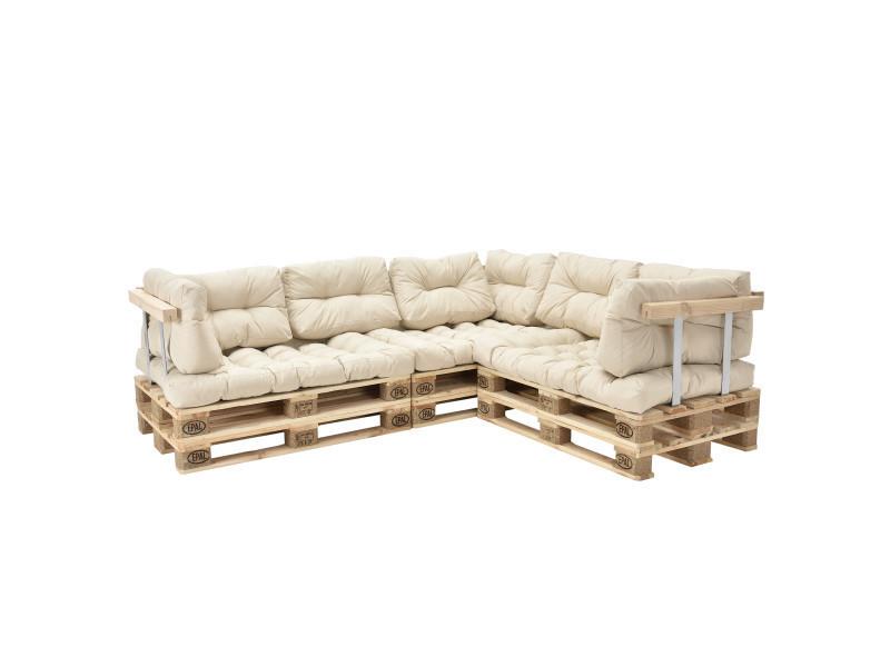 [en.casa] canapé d'angle en palettes coussin beige canapé d'angle avec palettes rembourrage appui - modèle 2