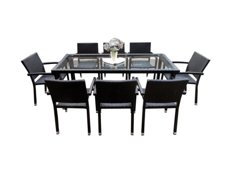 table en r sine tress e de jardin avec plateau en verre 192 cm conforama. Black Bedroom Furniture Sets. Home Design Ideas