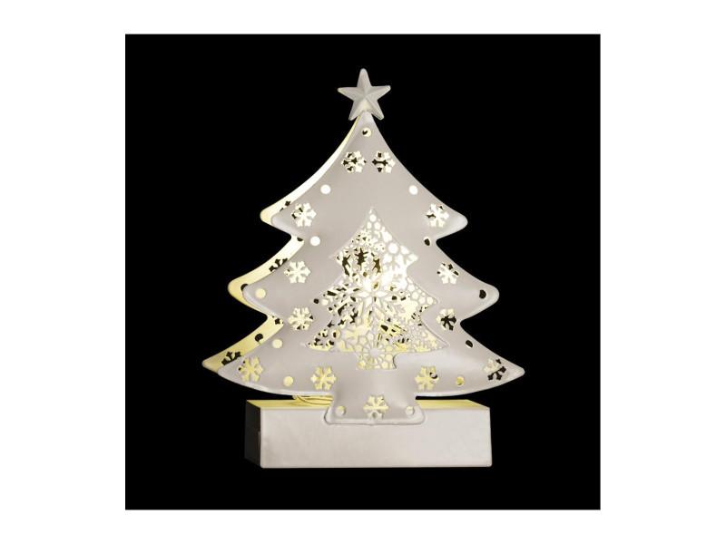 Feeric christmas - sujet de noël lumineux sapin en métal led blanc chaud h 14.5 cm