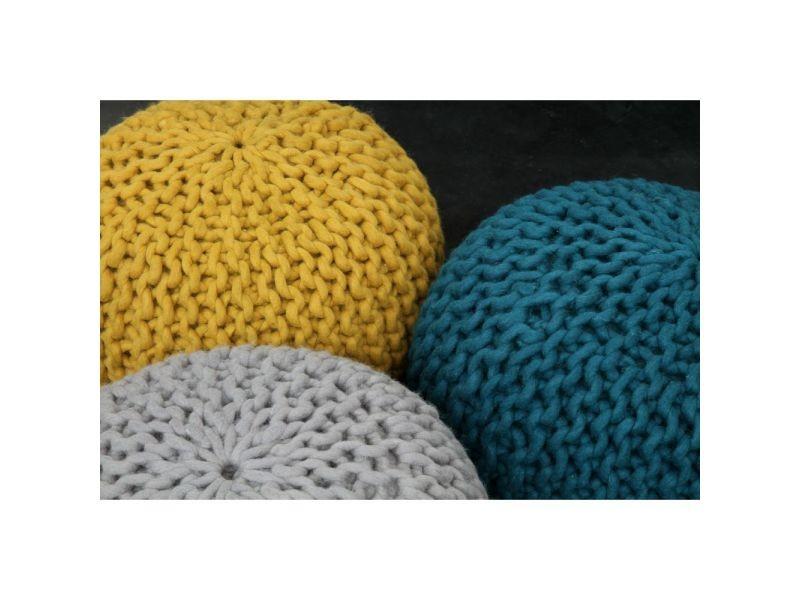 pouf tiss main en laine 50 cm dhal couleur jaune moutarde fgpf 006 yellow vente de pouf. Black Bedroom Furniture Sets. Home Design Ideas
