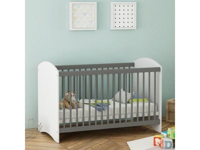 Lit bebe clover lit bébé a barreaux 60x120 cm coloris blanc perle ...
