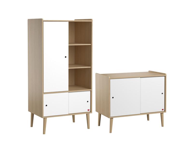 Commode 2 portes coulissantes et armoire 1 porte retro - bois blanc
