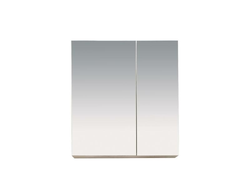 Porto - meuble de salle de bain. Armoire de toilette mirroir en mélaminé de couleur blanche. L-h-p : 65 / 70 / 21 cm