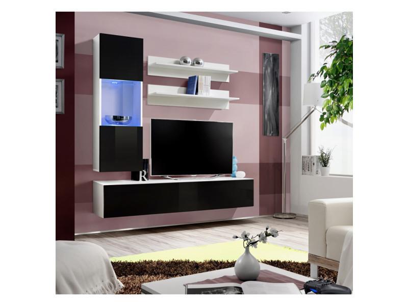 Ensemble meuble tv mural - fly ii - 160 cm x 170 cm x 40 cm - blanc et noir