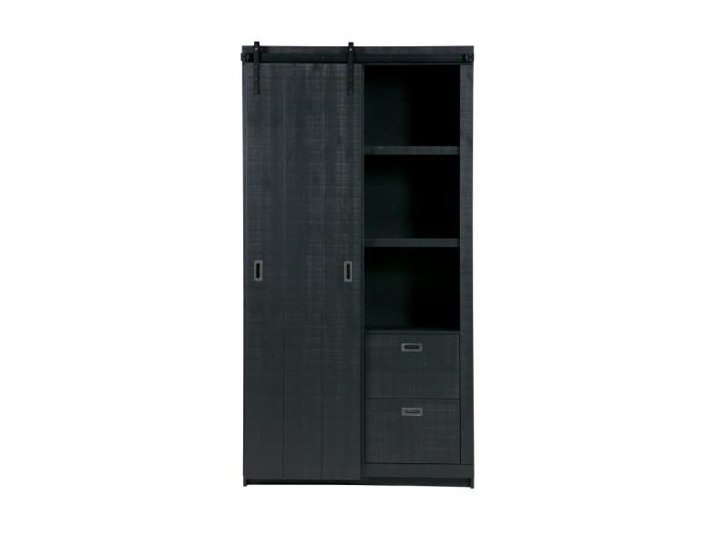 Barn - armoire design bois porte coulissante - couleur - noir 378566-Z