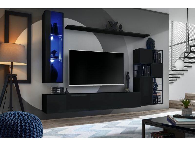 Ensemble meuble tv mural switch met ii - l 250 x p 40 x h 170 cm - noir