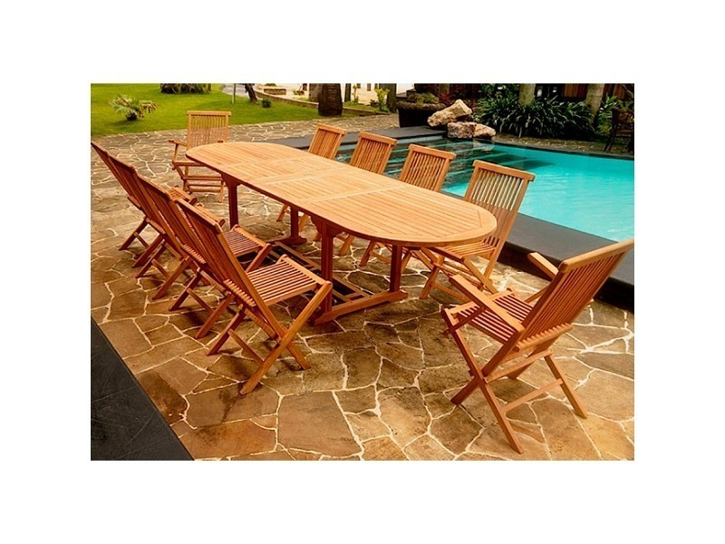 Kajang: salon de jardin teck massif 10/12 pers - table ovale 120 cm ...