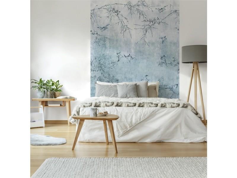 Papier peint panoramique intissé oiseaux japonais sur des branches 186 x 280cm bleu 89507