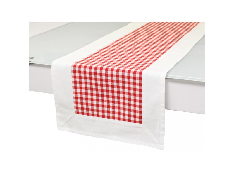 Chemin de table en coton vichy rouge, jacquard
