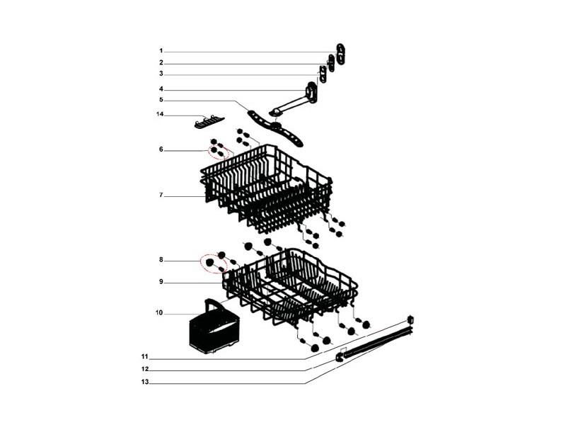 Roulette assemblee de panier inferieur pour lave vaisselle proline - 80420080