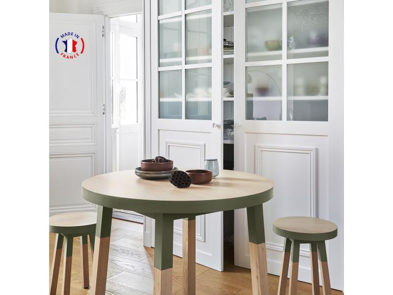 Table ronde 100% frêne massif 100x100 cm vert lancieux - 100% fabrication française