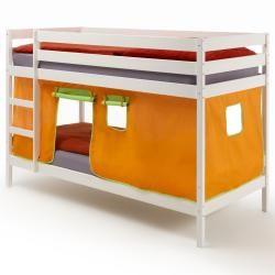 Lit superposés blanc felix rideaux, orange/vert