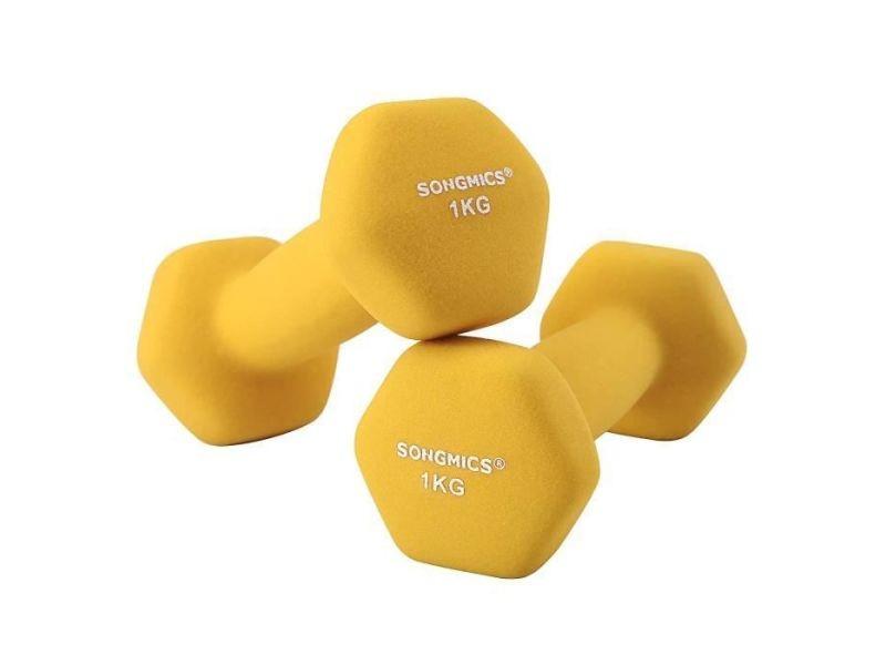 Songmics lot de 2 haltères de 1kg, exercices de musculation, sport à domicile, jaune,syl62yl lot de 2 haltères de 1kg