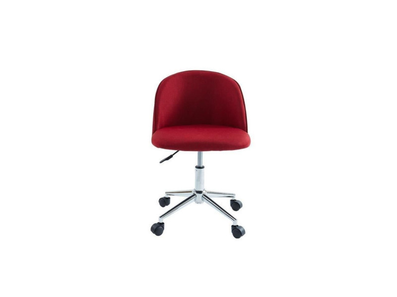 Macaron Chaise De Bureau Tissu Rouge Bordeaux Classique L 49